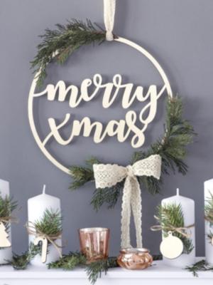Koka dekorācija - Merry Xmas, 28 cm