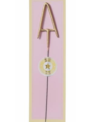 Brīnumsvecīte - A, zelta, 6 x 20 cm