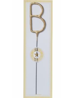 Brīnumsvecīte - B, zelta, 6 x 20 cm