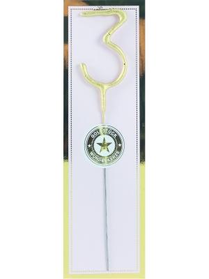 Brīnumsvecīte - 3, zelta, 6 x 20 cm