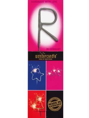 Brīnumsvecīte - R, sudraba, 6 x 20 cm