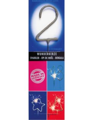 Brīnumsvecīte - 2, sudraba, 6 x 20 cm