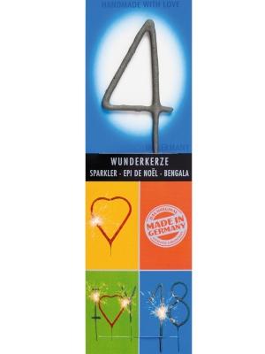 Brīnumsvecīte - 4, sudraba, 6 x 20 cm