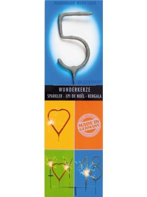 Brīnumsvecīte - 5, sudraba, 6 x 20 cm