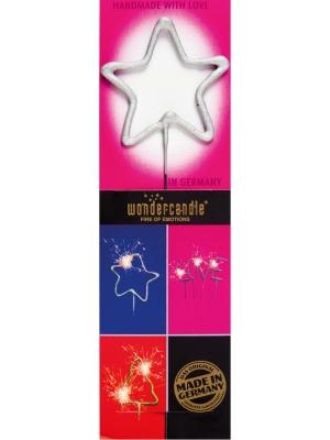 Brīnumsvecīte zvaigznes formā, sudraba, 6 x 20 cm