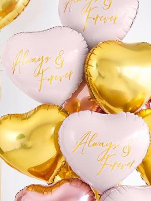 Folija sirds - Always & Forever, rozā, 45 cm