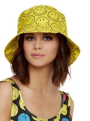 Cepure, dzeltena ar smaidiņiem