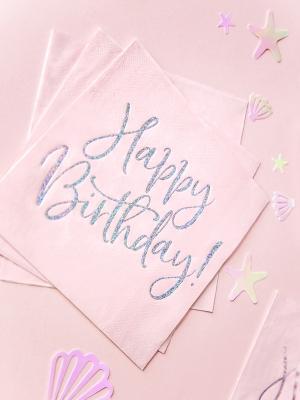20 gab, Salvetes Happy Birthday, gaiši rozā, 33 x 33 cm