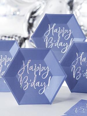 """6 gab, Šķīvji """"Happy B`day!"""", tumši zili, 20 cm"""