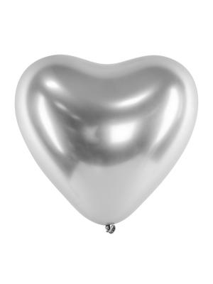 Hromēts balons Sirds, sudraba, 27 cm
