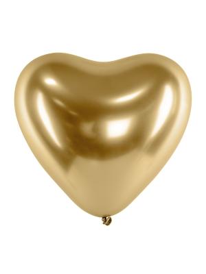 Hromēts balons Sirds, zelta, 27 cm