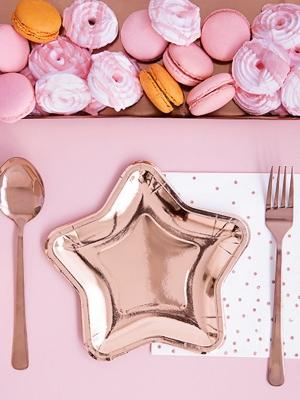 6 gab, Šķīvji  - Zvaigzne, rozā zelts krāsā, 18 cm