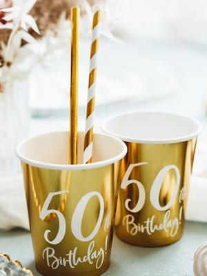 "6 gab, Glāzes ""50th Birthday!"", zelta, 220 ml"