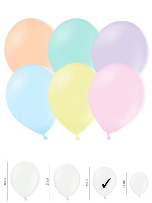 100 gab, Pasteļtoņu baloni, mix, 23 cm