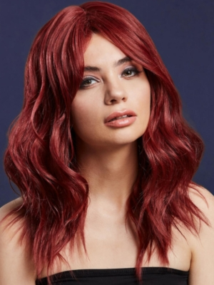 Parūka Ashley, rubīna  sarkana, 48 cm
