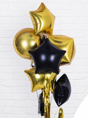 """Hēlija pušķis """"6 folijas baloni, zelts un melns"""""""