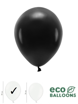 100 gab, Pasteļu eko baloni, melni, 30 cm