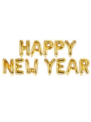 Folija balons Happy New Year, zelta krāsā, 370 x 35 cm