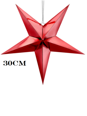 Papīra zvaigzne, sarkana, 30 cm