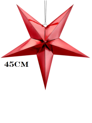 Papīra zvaigzne, sarkana, 45 cm