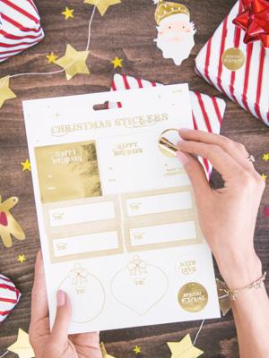 12 gab, Ziemassvētku uzlīmes, zelta krāsā 6,5 - 8,5 x 3 - 6,5 cm