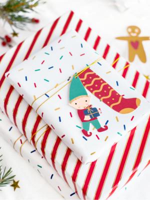 12 gab, dekoratīvas Ziemassvētku birkas, Santa 6 - 8,5 x 8 - 10 cm