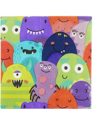 8 gab, salvetes ar monstriņu zīmējumu, krāsainas 16,5 x 16,5 cm