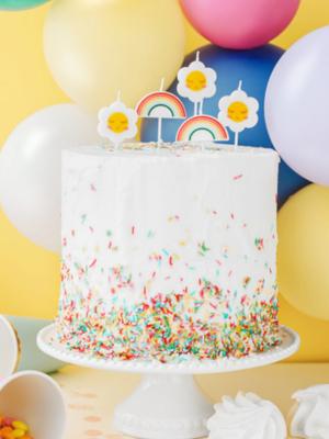 5 gab, svecītes kūkai - margrietiņas un varavīksnes, daudzkrāsaina, 2-3.5 cm