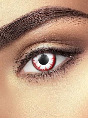 Lēcas balta demona acs, baltas ar sarkanu