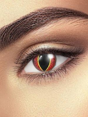 Lēcas Saurona acs, melnas ar sarkanu un dzeltenu