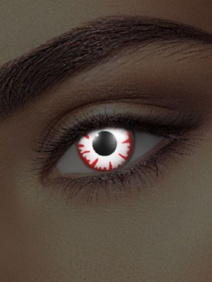 UV lēcas dēmona acs, baltas ar sarkanu