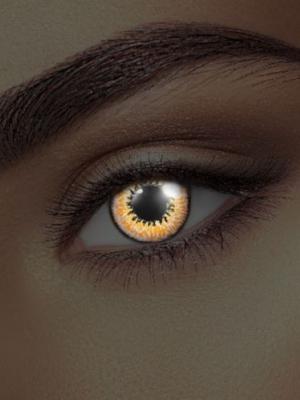 UV lēcas medus acs, melns ar oranžu un dzeltenu