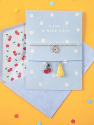 Kartīte ar rokassprādzēm - Have a nice day!, zila, 10.5 x 14.8 cm