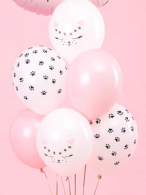 6 gab, Balonu komplekts kaķis, balts ar rozā, 30 cm