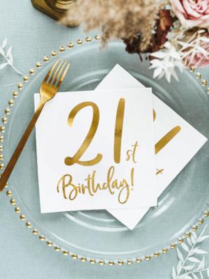 "20 gab,Salvetes, ""21th Birthday, baltas"", 16.5 x 16.5 cm"