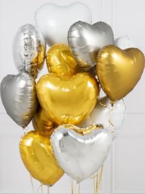 """Hēlija pušķis """"12 folijas sirdis"""", 45 cm"""