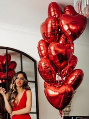 """Hēlija pušķis """"15 folijas sirdis"""", 45 cm"""