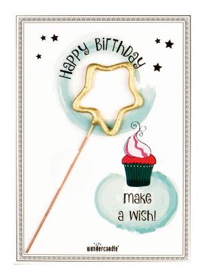 "Mini kartiņa,""Happy Birthday make a wish!"" 11,5 cm x 8,5 cm"