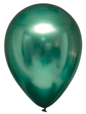 Lateksa balons, satīns / hromēts, smaragds, 27,5 cm