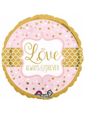 Folija balons, aplis, Love always and forever, 71 cm x 71 cm