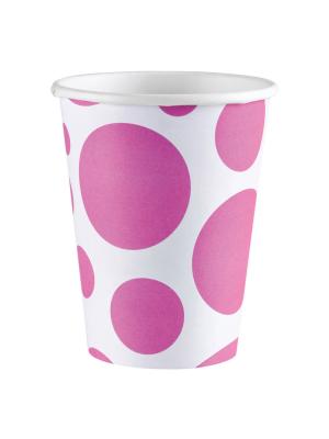 8 gab. Papīra glāzes, aplīši, rozā, 266 ml