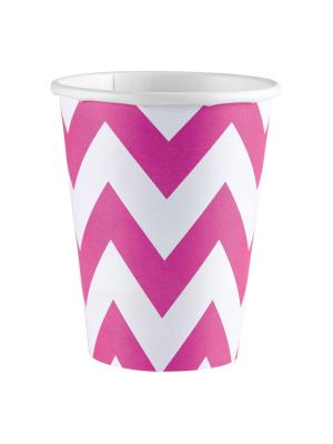 8 gab. Papīra glāzes, rozā, 266 ml