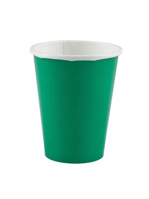 8 gab. Papīra glāzes, zaļš, 266 ml