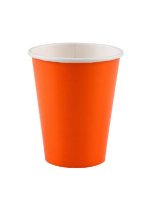 8 gab. Papīra glāzes, tumši oranžs, 266 ml