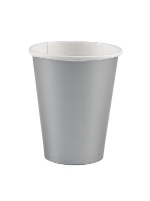 8 gab. Papīra glāzes, sudrabs, 266 ml
