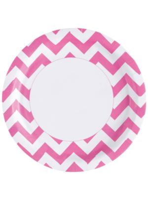8 gab, Papīra šķīvis, rozā, diametrs 22,8 cm