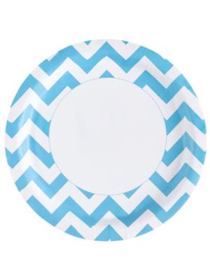 8 gab, Papīra šķīvis, zils, diametrs 22,8 cm