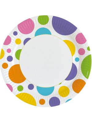 8 gab, Papīra šķīvis, krāsaini aplīši, diametrs 22,8 cm