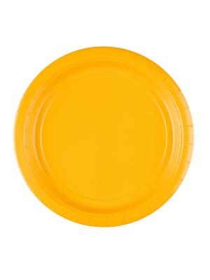 8 gab, papīra šķīvis, dzeltens, diametrs 22,8 cm