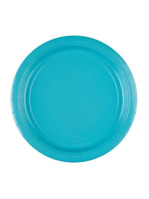 8 gab, papīra šķīvis, karību zils, diametrs 22,8 cm